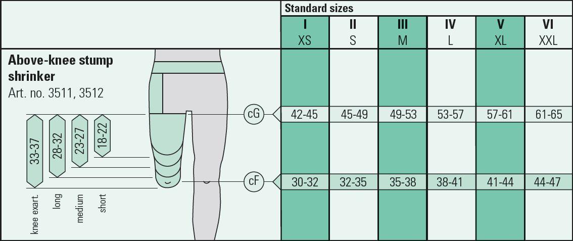 Image result for juzo stump shrinker size chart