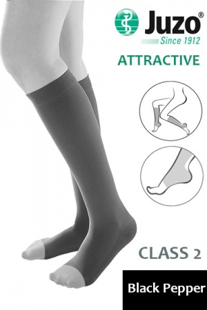 Juzo Attractive Class 2 Black Pepper Below Knee Compression Stockings with Open Toe