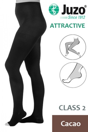 Juzo Attractive Class 2 Cacao Compression Tights with Open Toe