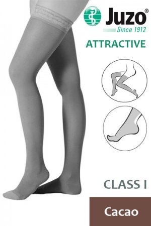 Juzo Attractive Class 1 Cacao Thigh High Compression Stockings