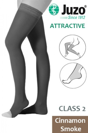 Juzo Attractive Class 2 Cinnamon Smoke Thigh High Compression Stockings with Open Toe