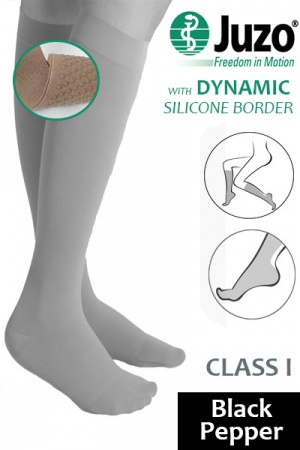 Juzo Dynamic Class 1 Black Pepper Knee High Compression Stockings with Thin Silicone Border