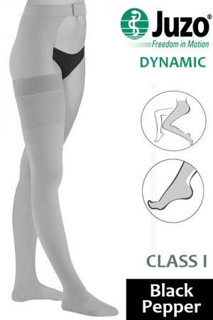 Juzo Dynamic Class 1 Black Pepper Thigh High Compression Stockings with Waist Attachment