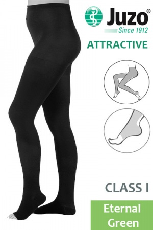 Juzo Attractive Class 1 Eternal Green Compression Tights with Open Toe