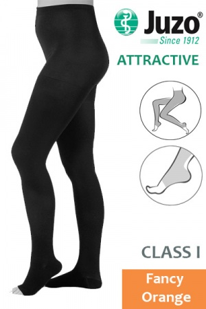 Juzo Attractive Class 1 Fancy Orange Compression Tights with Open Toe