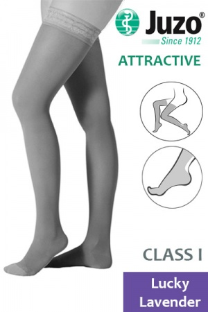 Juzo Attractive Class 1 Lucky Lavender  Thigh High Compression Stockings