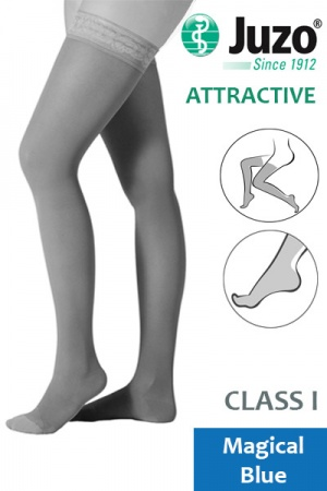 Juzo Attractive Class 1 Magical Blue Thigh High Compression Stockings