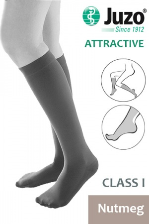 Juzo Attractive Class 1 Nutmeg Below Knee Compression Stockings