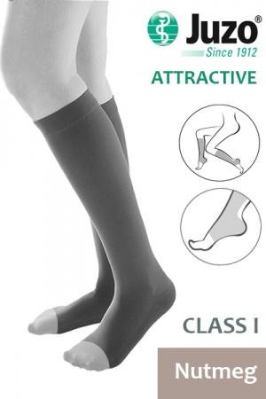 Juzo Attractive Class 1 Nutmeg Below Knee Compression Stockings with Open Toe