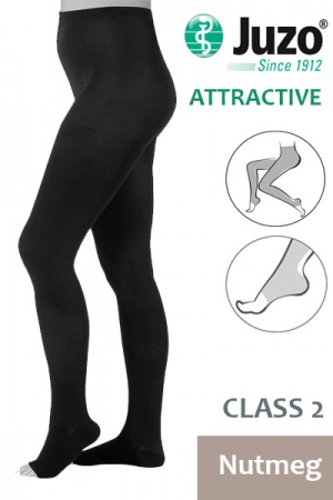 Juzo Attractive Class 2 Nutmeg Compression Tights with Open Toe