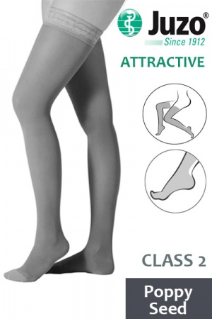 Juzo Attractive Class 2 Poppy Seed Thigh High Compression Stockings