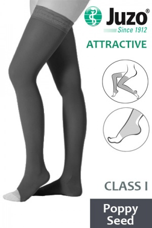 Juzo Attractive Class 1 Poppy Seed Thigh High Compression Stockings with Open Toe