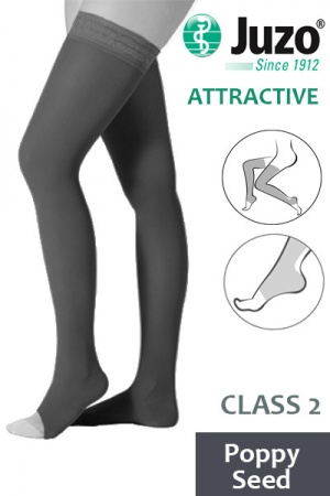 Juzo Attractive Class 2 Poppy Seed Thigh High Compression Stockings with Open Toe