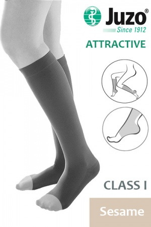 Juzo Attractive Class 1 Sesame Below Knee Compression Stockings with Open Toe