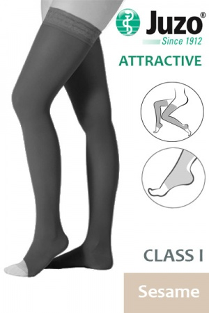 Juzo Attractive Class 2 Sesame Thigh High Compression Stockings with Open Toe