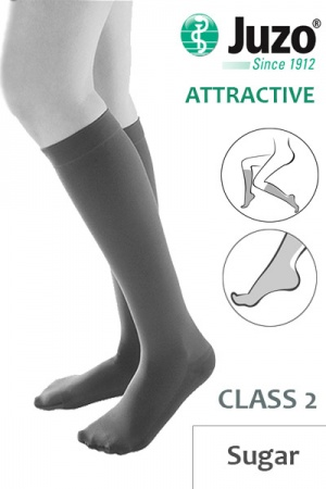 Juzo Attractive Class 2 Sugar Below Knee Compression Stockings with Open Toe