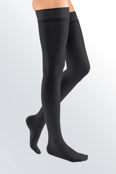 Medi Mediven Elegance Class 1 Black Thigh Compression Stockings with Top Band