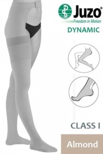Juzo Dynamic Class 1 Almond Thigh High Compression Stockings with Waist Attachment