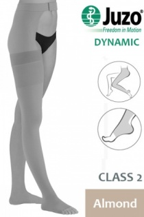 Juzo Dynamic Class 2 Almond Thigh High Compression Stocking with Open Toe and Waist Attachment