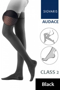 Sigvaris Audace Class 2 Black Thigh Compression Stockings