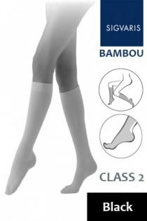Sigvaris Bambou for Women Class 2 Black Calf Compression Stockings