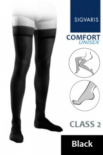 Sigvaris Unisex Comfort Class 2 Black Thigh Compression Stockings