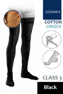 Sigvaris Cotton Class 3 Black Thigh Compression Stockings with Knob Grip Top
