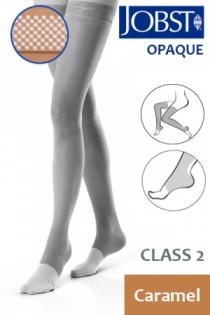 Jobst Opaque Class 2 Caramel Thigh High Compression Stockings with Open Toe and Dotted Silicone Band