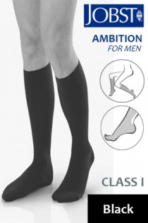 Jobst for Men Ambition Class 1 Black Below Knee Compression Stockings
