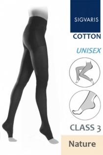 Sigvaris Cotton Class 3 Nature Tights with Open Toe