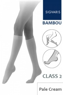 Sigvaris Bambou for Women Class 2 Pale Cream Calf Compression Stockings
