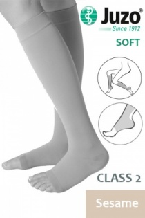 Juzo Soft Class 2 Sesame Calf Compression Stockings with Open Toe