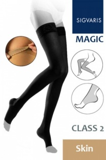 Sigvaris Magic Class 2 Skin Thigh Compression Stockings with Open Toe and Knob Grip Top