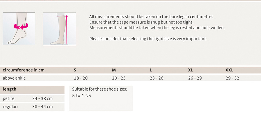 Mediven Travel Sock Sizing Guide Women's