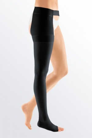 Medi Mediven Plus Class 2 Black Right Leg Stocking Open Toe with Waist Attachment