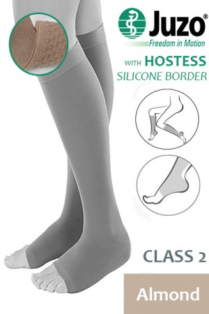 Juzo Hostess Class 2 Almond Knee High Compression Stockings with Open Toe and Thin Silicone Border