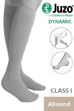 Juzo Dynamic Class 1 Almond Knee High Compression Stockings