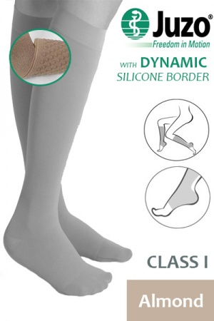 Juzo Dynamic Class 1 Almond Knee High Compression Stockings with Thin Silicone Border