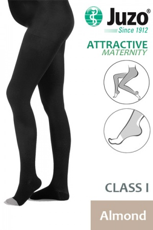 Juzo Attractive Class 1 Almond Maternity Compression Tights with Open Toe