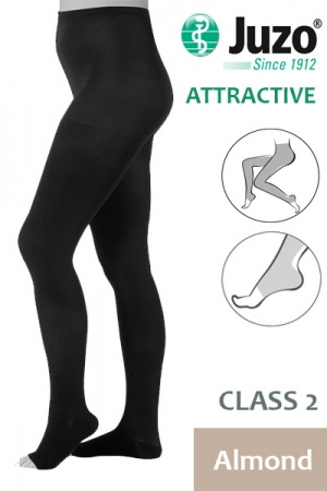 Juzo Attractive Class 2 Almond Compression Tights with Open Toe