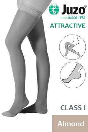 Juzo Attractive Class 1 Almond Thigh High Compression Stockings
