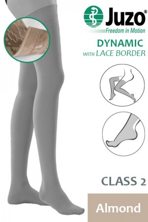 Juzo Dynamic Class 2 Almond Thigh High Compression Stockings with Lace Silicone Border