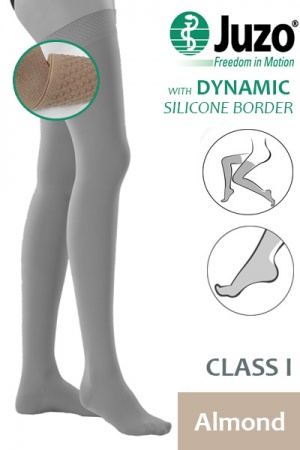 Juzo Dynamic Class 1 Almond Thigh High Compression Stockings with Silicone Border
