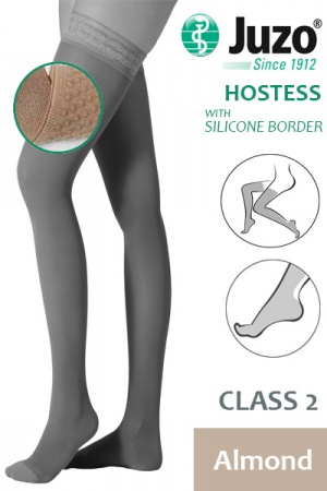 Juzo Hostess Class 2 Almond Thigh High Compression Stockings with Silicone Border