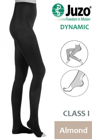 Juzo Dynamic Class 1 Almond Compression Tights with Open Toe