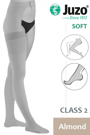 Juzo Soft Class 2 Almond Thigh Compression Stocking with Waist Attachment