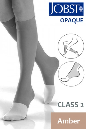 Jobst Opaque Class 2 Amber Knee High Compression Stockings with Open Toe