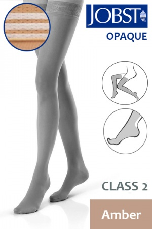 Jobst Opaque Class 2 Amber Thigh High Compression Stockings with Soft Silicone Band
