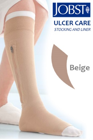 JOBST UlcerCARE Beige Compression Stocking with Liner and Zipper (40mmHg)
