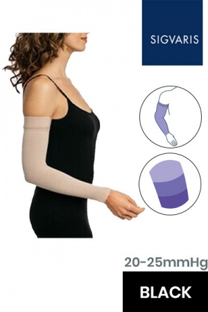 Sigvaris Advance 20 - 25 mmHg Black Compression Sleeve with Grip Top